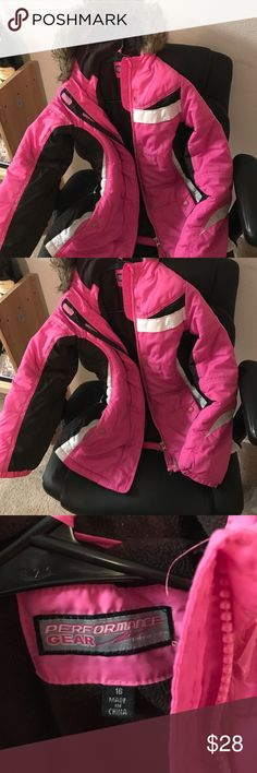 Girls jacket/coat Pink and black with faux fur trim on hood. performance gear Jackets & Coats