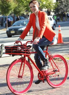 Model, Coco Rocha, on her matching Martone Cycling bike.