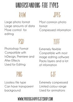Do you need help understanding different file types? Whether you are a photograp… Do you need help understanding different file types? Whether you are a photographer, designer or simply work with computes it is important to know. Dslr Photography Tips, Photography Cheat Sheets, Photography Lessons, Photography Backdrops, Photography Business, Photography Tutorials, Digital Photography, Photography Tips For Beginners, Importance Of Photography