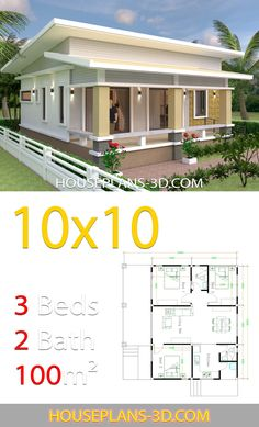 House Design Plans with 3 Bedrooms full interior - House Plans 3d House Plans, Small House Floor Plans, Simple House Plans, Model House Plan, House Layout Plans, House Blueprints, House Layouts, Modern Floor Plans, Full House
