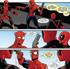 Fuck Yes Deadpool, Spideypool Team-up 2014 Marvel Memes, Marvel Dc Comics, Marvel Funny, Deadpool X Spiderman, Spideypool, Superfamily, American Comics, Funny Comics, Marvel Universe