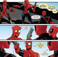 Fuck Yes Deadpool, Spideypool Team-up 2014 Marvel Funny, Marvel Memes, Marvel Dc Comics, Funny Comics, Deadpool X Spiderman, Spideypool, Superfamily, American Comics, Comic Character