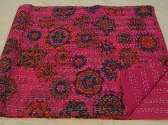 Floral Kantha Quilt QUEEN Size Cotton Bedspread Handmade Reversible Gudri 0006 #Handmade