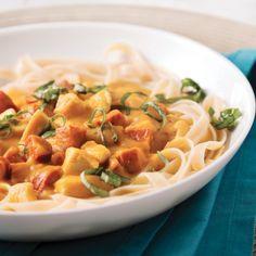 Fettucines au poulet et chorizo, sauce à la courge - Recettes - Cuisine et nutrition - Pratico Pratique