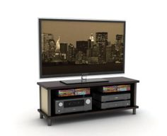 Midtown TV Stand with Shelf Transitional Living Room Furniture Espresso Finish