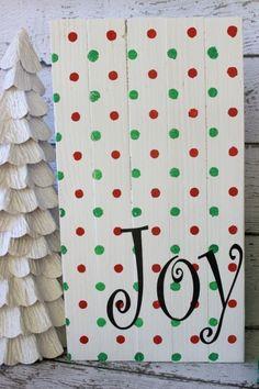 Joy Christmas Wood Sign DIY Christmas Joy Sign using Polka Dot Modern Stencils from Royal Design