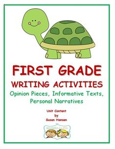 First grade writers need to be able to write opinion pieces (W1.1), informative texts (W.1.2), and narrative accounts of an event (W.1.3). This unit provides easy to use, ready-made activities that will help teach students how to meet these first grade writing goals.
