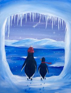 Penguin Paradise II at Pollo Rico Latin Bistro (Centereach) - Paint Nite Events Winter Painting, Winter Art, Christmas Paintings On Canvas, Penguin Art, Ecole Art, Acrylic Painting Techniques, Easy Paintings, Canvas Artwork, Pictures To Paint