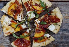 Grilled Cornmeal Flatbreads with Peaches, Serrano Ham, and Spicy Greens