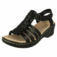 cc5c7a81d Details about Ladies Clarks Lexi Bridge Black Or Metallic Leather Wedge Heel  Sandals