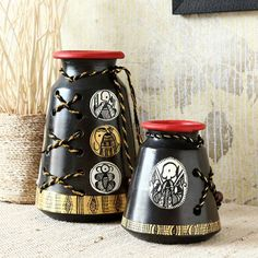 Rs. 719 Maati Designs Brown Earthen Jute Vase Set of Two   Pieces,Décor