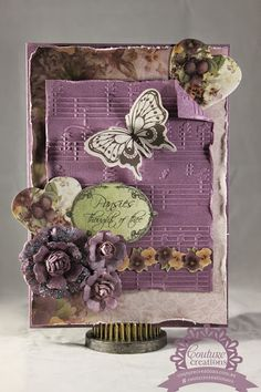 Couture Creations: Pansies thoughts of thee by Tracey Cooley | #couturecreationsaus #cards #embossingfolders #heartsease