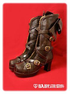 Cross Belt Boots  Black or Brown