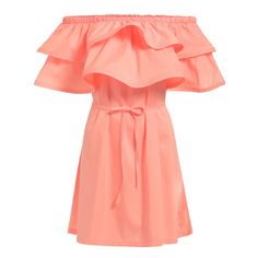 Romwe Boat Neck Ruffle Self-Tie Pink Dress ($11) ❤ liked on Polyvore featuring dresses, pink, flared sleeve dress, knee-length dresses, pink ruffle dress, pink dress and flare dress