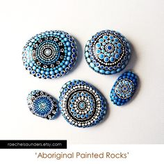 Set of 5 Painted Rocks Office and home ornament by RaechelSaunders