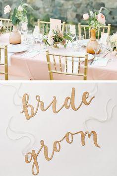 'Bride & Groom' Chair signs