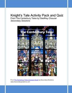 Canterbury Tales: Knight's Tale Activity Pack, Quiz, Summary $4.99