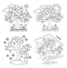 Download - Four Seasons Trees Clipart and Vector with Spring, Summer, Fall and Winter Trees. Coloring. Vector Illustration — Stock Illustration #83196208