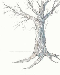 The Blue Oak - Ink and watercolor illustration - Oak tree - blue - 8x10 print