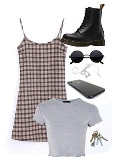 """Untitled #1161"" by royalcouncil ❤ liked on Polyvore featuring Urbiana, Topshop and Dr. Martens"