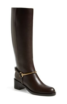 Gucci 'Tess' Tall Boot (Women) at Nordstrom.com. Polished bit detailing provides a refined finishing touch for a classic Italian riding boot cast in rich leather.