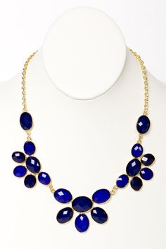 navy and royal blue statement necklace