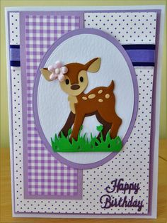 Handmade Birthday Card - Marianne Collectables Deer Die. For more of my cards please visit the CraftyCardStudio on Etsy.com.
