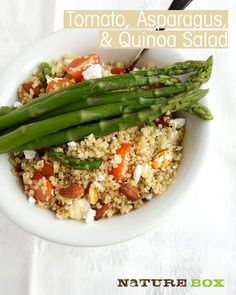 """Possible choice to make for my husband, who loves asparagus: Tomato, Asparagus & Quinoa Salad from Nature Box.  The """"tomato crunchies"""" are seasoned sliced almonds."""