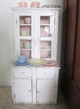 Antique child kitchen cupboard vintage wood play cabinet