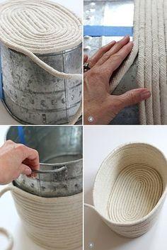 Hot glue rope around a basket, box, tub, or whatever to make a pretty basket.
