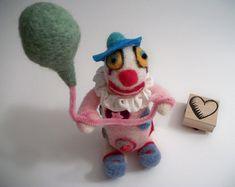 Clown Figure, Felted Clown, Novelty Doll, Clown Collectible, Handmade Art Doll, FeltWithAHeart