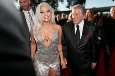 Lady Gaga Walks Grammys 2015 Carpet with Tony Bennett!: Photo Lady Gaga shows off her assets in a glitzy dress on the red carpet at the 2015 Grammy Awards held at the Staples Center on Sunday (February in Los Angeles. Lady Gaga Grammy, Lady Gaga Now, Tony Bennett, Oscars, Fotos Lady Gaga, Lady Gaga Makeup, 57th Annual Grammy Awards, Prom Dresses, Formal Dresses