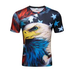 uk availability c46f9 9a9f8 American Eagle Flag T-Shirt For Men T Shirt 3D Print Eagle Short Sleeve T  Shirt Summer Tops