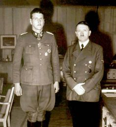 Adolf Hitler and his personal bodyguard, Otto Skorzeny . Skorzeny lived long after the war after an epic escape flight to Spain that barely made it.