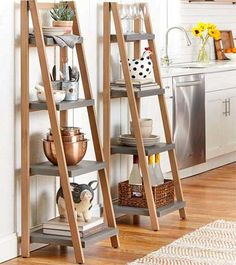 Should You Use a Kitchen Ladder Shelf to Store Dishes, Utensils, Snacks or Cookbooks? What are the Advantages Over Cabinets or Large Wall Shelving Units? Ladder Shelving Unit, Ladder Shelf Decor, Ladder Storage, Diy Ladder, Wooden Ladder Decor, Ladder Bookcase, Kitchen Shelf Unit, Kitchen Bookshelf, Do It Yourself Organization