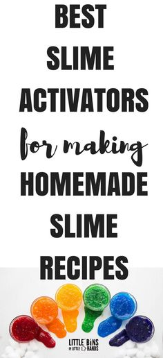 Making homemade slime recipes is all about having the right slime activator and of course the right glue. I am going to share with you my favorite slime activator list to get you started, and I will share some tips for making the easiest slime ever with these different slime activators. We want you to have all the slime making info you need right at your finger tips. #howtomakeslime #slimerecipe #slimeactivators #slime #homemadeslime