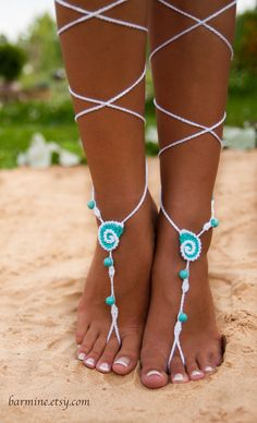 Seashell White and Aqua Crochet Barefoot Sandals Nude by barmine
