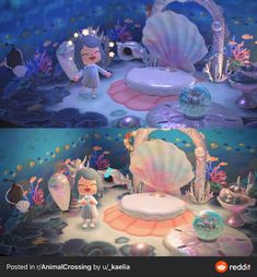 Finished my underwater room! Animal Crossing Guide, Animal Crossing Qr Codes Clothes, Animal Crossing Pocket Camp, Underwater Room, Motif Acnl, Mermaid Room, Animal Games, New Leaf, Pokemon
