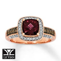 Le Vian Garnet Ring 1/3 ct tw Diamonds 14K Strawberry Gold