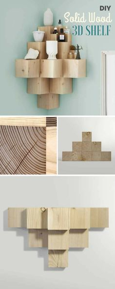 Check out the tutorial: #DIY Solid Wood 3D Shelf @istandarddesign                                                                                                                                                                                 More
