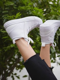 Mono Leather Lace Up Sneakers | Classic Converse All Star leather high tops in a modern monochromatic palette. Rubber soles and toe cap.