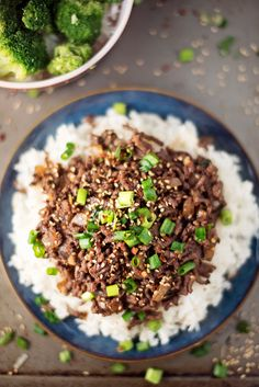 15-Minute Healthy Asian Beef Bowl - use a tbsp or two of honey or agave instead of 1/4 c sugar
