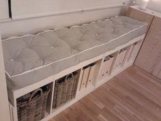my hand made mattress, 1 day work, DIY mattress, DIY tufting, window bench = ikea Trofast x 2, ikea hack