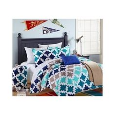 Twin Teal Blue Minecraft Block Style Bedding Comforter Reversible Set Teen Sheet #Modern