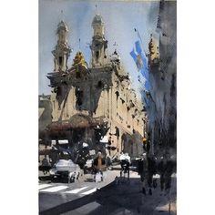 Watercolor City, Watercolor Landscape Paintings, Watercolor Artists, Watercolour Painting, Watercolours, Watercolor Architecture, Art And Architecture, Cityscape Art, Aesthetic Painting