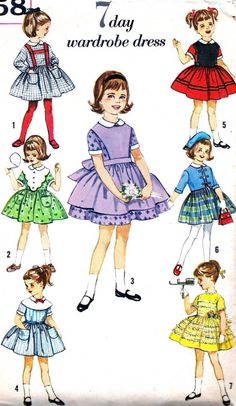 1960s Girls Dress Pattern Simplicity 4058 Toddler Girls Full Skirt Dress…