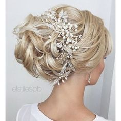 Bridal hair ❤ liked on Polyvore featuring beauty products, haircare, hair styling tools, eye look and makeup