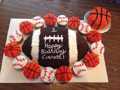 1st Birthday Sports themed cake with smash cake