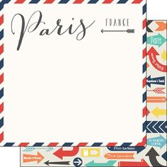 Scrapbook Customs - Travel Adventure Collection - 12 x 12 Double Sided Paper - Paris Memories Air Mail Arrows at Scrapbook.com