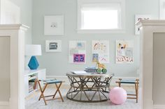 Playroom Makeover By Emily Henderson + Curbly - Featuring Laura Ashley Flat Roman Shades in Casualle Milk.